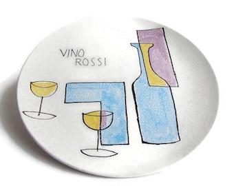 Mid Century Modern ceramic plate Vino Rossi, modernist art, cubist ceramic