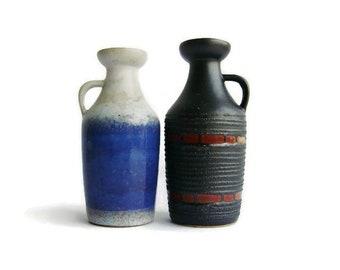 Vintage ceramic vase Strehla Keramik 1302, set of 2, East German Pottery