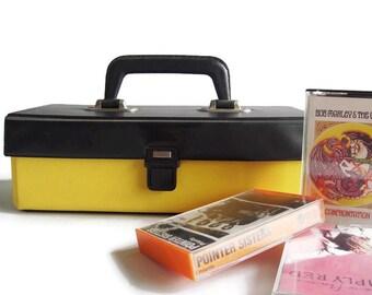 Vintage cassette tape carrying case, cassette storage, tape holder,