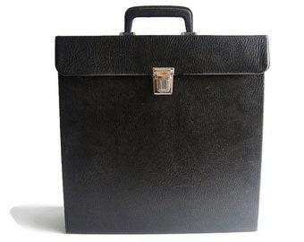 Vintage vinyl record storage case, black faux leather