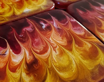 Set of 4 fire resin coasters