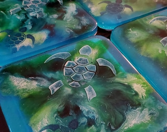 Set of 4 turtle resin coaster