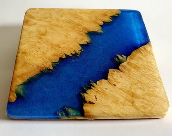 Set of 4 Maple burl and resin river coasters