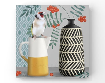 Still Life - Goldfinch and Rowan Berries, Contemporary Still Life, Birds, Pottery and Flowers Painting, Giclee Print of Goldfinch.