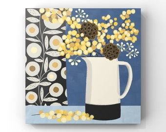 Still Life - Poppy Heads and Mimosa, White jug on Blue Background -FREE DELIVERY-