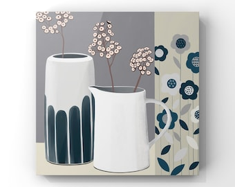 Still Life - White and Blue Pottery with Pink Seed Heads, Geometric Still Life, Pottery and Flowers Painting -FREE DELIVERY-