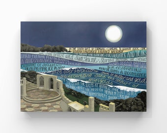 Minack Theatre Art Print, Porthcurno, Language in the Landscape, Giclee Print of my original Illustration and Words, Cornwall Art Print