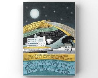 Burgh Island Art Print, Giclee Print of my original Illustration and Words, Devon Art Print, Burgh Island Wall Art, Devon Coast Print