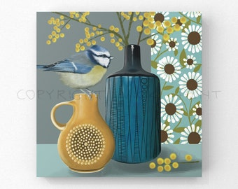 Still Life - Blue Tit and Mimosa, Geometric Still Life, Pottery and Flowers Painting -FREE DELIVERY-