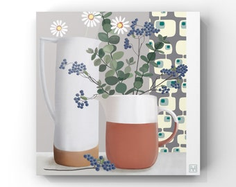 Still Life - Daisies and Eucalyptus, Geometric Still Life, Pottery and Flowers Painting -FREE DELIVERY-