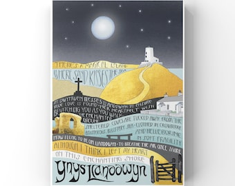 Llanddwyn Island Anglesey, Art Print, Language in the Landscape, Giclee Print of my original Illustration and Words, North Wales Art Print