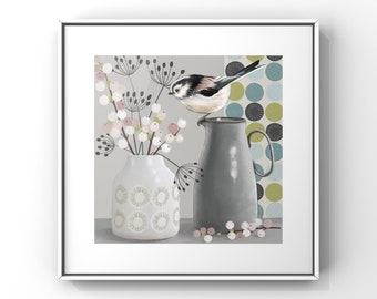 Still Life - Long-tailed Tit and Snowberries, Contemporary Still Life, Birds, Pottery and Flowers Painting, Giclee Print of Long-tailed Tit