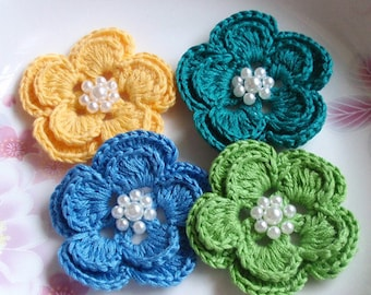 4 Crochet Flowers With Pearls YH-160-04