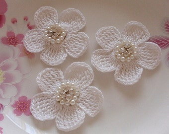 3 Crochet  Flowers With Rhinestone Pearl 2 inches YH -218-02