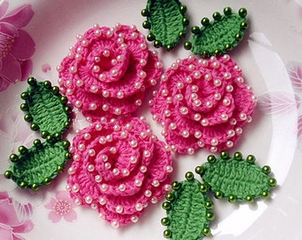 3 Crochet Flower With Leaves And Pearls YH-072-01