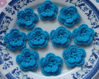 10 Crochet Flowers In Turquoise  YH-030-010