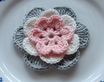 Crochet Flower in 2-3/4 inches in crimson , Off White, Gray YH - 028-01