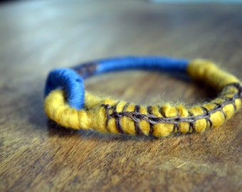 Tribal bangle bracelet in mustard and blue- blue rope bracelet -eco friendly jewelry in citrine yellow