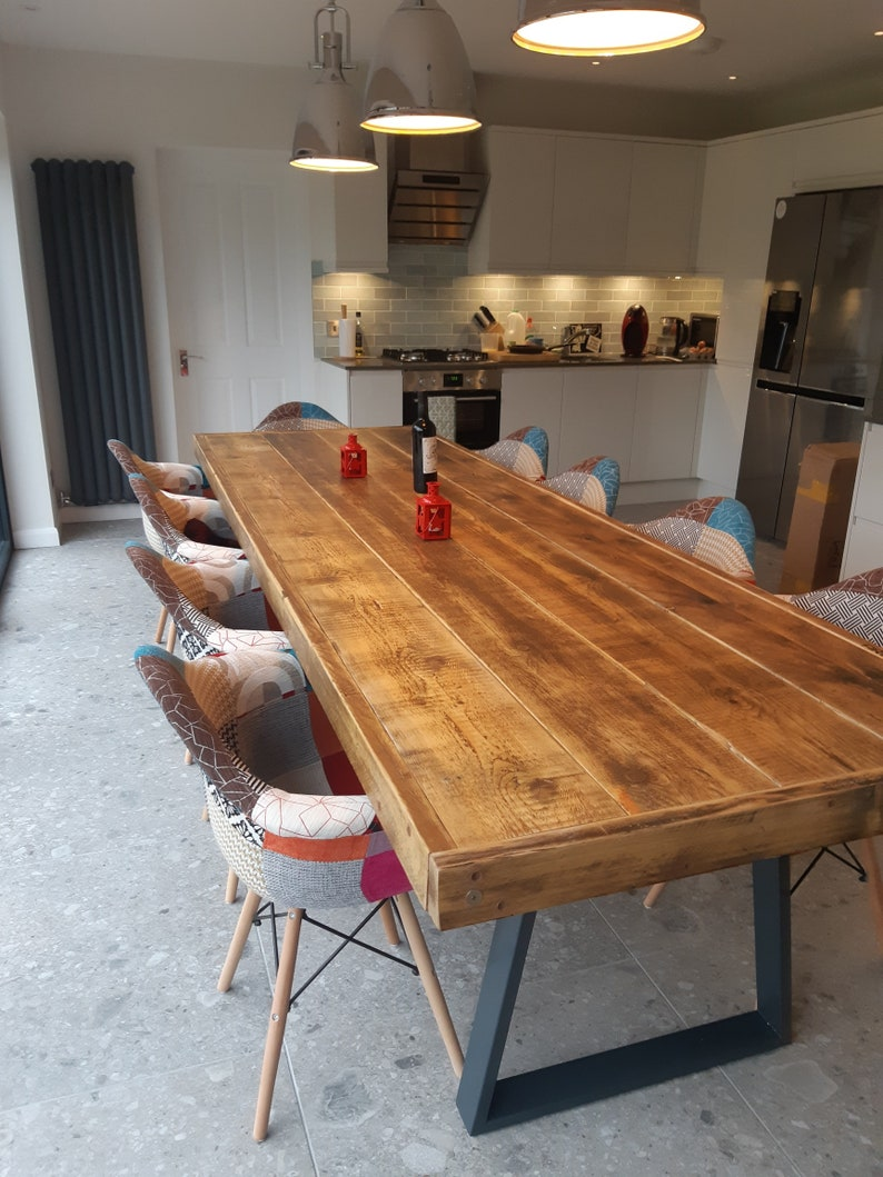 Bespoke Industrial Style Dining Table With Steel Legs Etsy