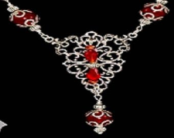 Handmade Vintage Set Necklace Earrings Bracelet Tibetan Silver-Crystal Swarovski Red