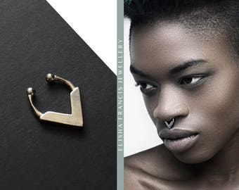 KALANI Sterling Silver Fake Septum Ring | Septum Jewellery | Bohemian Septum | Faux Septum | Septum Clip | Silver Septum Ring