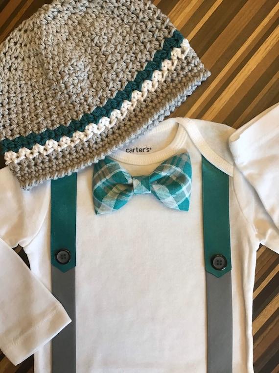 Crochet Hat Combo Gray Chevron Tie Bodysuit Little Man Mustache Shirt Appliqued Number One  by Nonneys Creations Little man Mustache