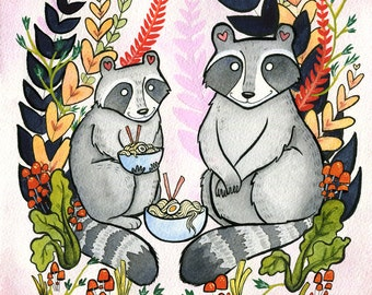 Raccoons eating Ramen Noodles - Ramen art - Raccoon Art - Raccoon  Watercolor - 8x10