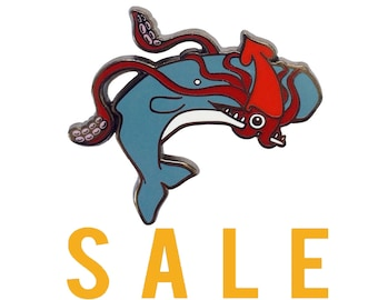 SECONDS SALE Squid and Whale Enamel Pin -  ocean enamel pin - whale enamel Pin - squid  pin