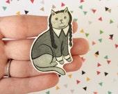 Halloween Cat Brooch Wednesday Addams Goth Cat Pin -  cat pin - cat jewellery -Halloween Pin - Unique Boutonnière