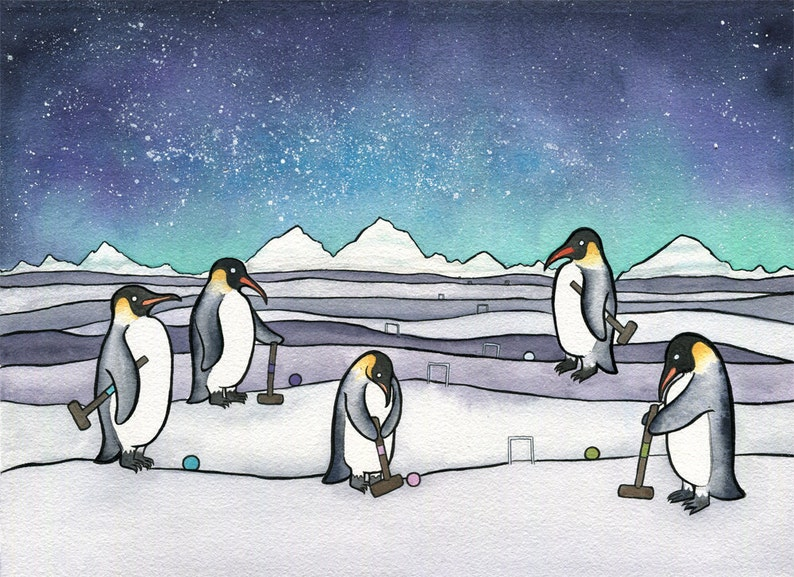 b099d672ca Pinguino Croquet Art di pinguino imperatore Stampa | Etsy