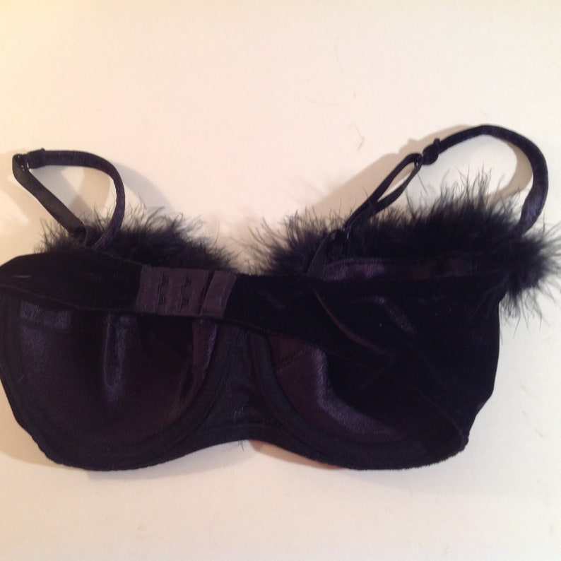 BRA---Black Velvet Bra With Maribou Feather Trim 34  36 B