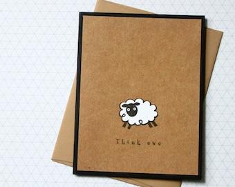 Note card set, Thank Ewe Card, Sheep Thank You, Punny Thank You Cards, Handmade Thank You Cards, Handmade Card Set, Thank You Notes