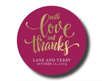 Wedding stickers, thank you stickers, custom thank you stickers, favor stickers, wedding favor stickers, thank you personalized sticker