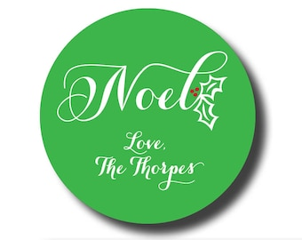 Noel gift sticker, noel custom sticker, christmas gift sticker Christmas gift label personalized sticker green and red sticker holly sticker