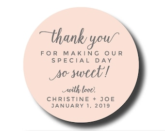 Thank you for making our special day so sweet stickers, thank you stickers, treat stickers, sweet sticker candy sticker cookie bar sticker