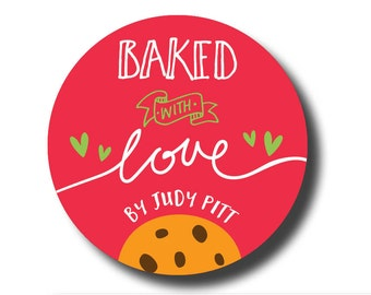 Baked with love labels, cookie labels, from the kitchen of stickers, special delivery stickers, cookie exchange sticker all you need is love