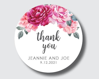 Floral wedding stickers, floral stickers, thank you stickers, custom wedding labels, vintage style wedding decor