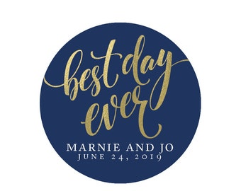 Best day ever labels, navy and gold stickers, round labels favor labels wedding stickers custom stickers personalized stickers custom favors