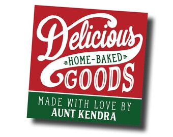 Cookie exchange stickers, homemade labels, Baked with love stickers From the Kitchen of Stickers, Treat Labels Christmas Tags for Baked Good