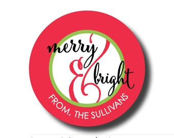 Merry and Bright sticker, Gift tag sticker, gift tag, Christmas gift tag, Christmas sticker, Christmas gift label, holiday gift tag