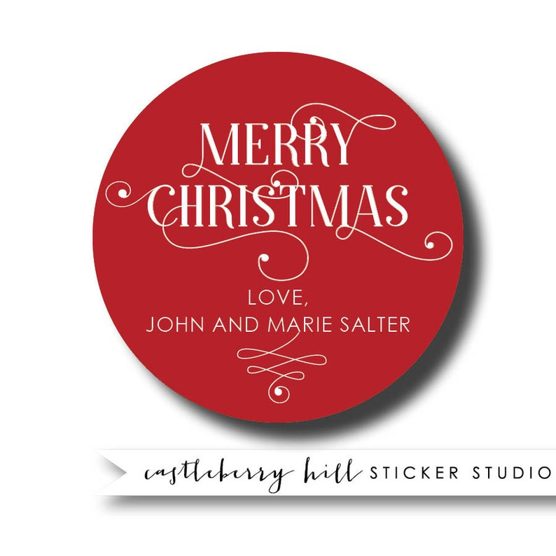 Simple holiday sticker, classic Christmas sticker, custom sticker, custom  text holiday sticker custom message sticker, holiday favor sticker