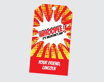 PRINTED whoopee cushion tags, whoopie cushion, whoopee cushion valentine, boys valentines, valentines for boys, whoopee gift tags--set of 24