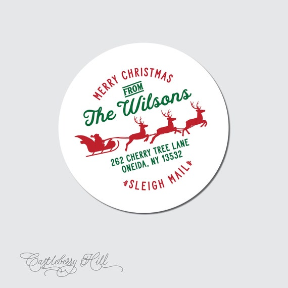Christmas Address Labels.Return Address Labels For Christmas Cards Holiday Card Envelope Seal Merry Christmas Address Label Holiday Address Sticker Sleigh Mail Label