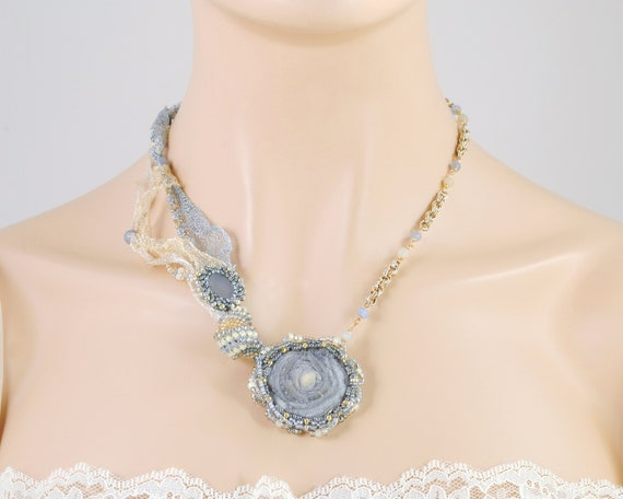 Pearl Chalcedony 30th Anniversary Gemstone Sterling Silver Necklace