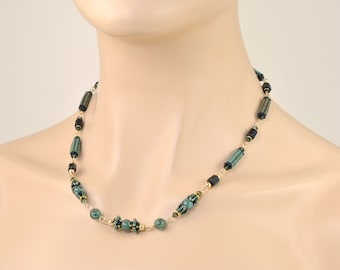 Natural Emerald Necklace with Black Tourmaline in 14K Gold Filled; Genuine Gemstone Jewelry; One of a Kind Beaded Art; May Birthstone