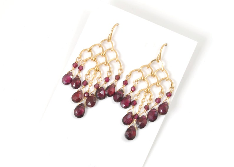 Rhodolite Garnet Earrings in Hammered 14K Gold Filled Chainmaille; One of a Kind Natural Gemstone Jewelry; Genuine January Birthstone Gift