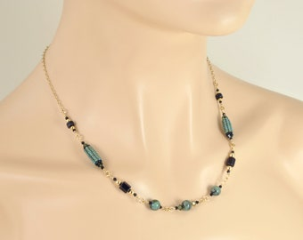 Emerald Necklace with Black Tourmaline in 14K Gold Filled; Natural Gemstone Jewelry; One of a Kind Genuine Emerald May Birthstone Necklace