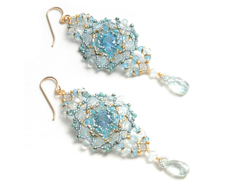 Big Lacy Natural Aquamarine Statement Earrings; Victorian Style Gemstone Jewelry; March Birthstone Romantic Gift