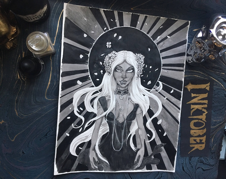 New Moon Witch - Original Ink Drawing witch series artwork