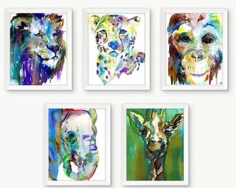 Jungle Nursery Prints, Safari Animal Prints, Nursery Animal Prints, Watercolor Animal, Nursery Art, Lion Painting, Elephant Painting